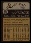 1973 Topps #306  Tom Burgmeier  Back Thumbnail