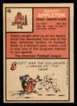 1966 Topps #46  Scott Appleton  Back Thumbnail