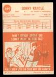 1963 Topps #149  Sonny Randle  Back Thumbnail