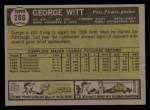 1961 Topps #286  George Witt  Back Thumbnail