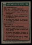1975 Topps Mini #202   -  Brooks Robinson / Ken Boyer 1964 MVPs Back Thumbnail
