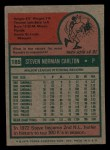 1975 Topps Mini #185  Steve Carlton  Back Thumbnail