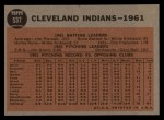 1962 Topps #537   Indians Team Back Thumbnail