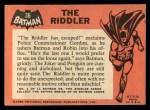 1966 Topps Batman Black Bat #36   The Riddler Back Thumbnail