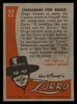 1958 Topps Zorro #22   Challenge For Diego Back Thumbnail