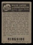 1951 Topps Ringside #80   -  Walter Cartier / Eugene Hairston Cartier vs Hairston Back Thumbnail