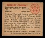 1950 Bowman #103  Charley Conerly  Back Thumbnail