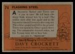 1956 Topps Davy Crockett #74   Flashing Steel  Back Thumbnail