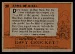 1956 Topps Davy Crockett #30   -    Arms of Steel  Back Thumbnail