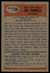 1955 Bowman #136  Emlen Tunnel  Back Thumbnail
