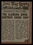 1962 Topps Civil War News #31   Terror of the Sea Back Thumbnail