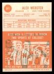 1963 Topps #51  Alex Webster  Back Thumbnail