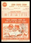 1963 Topps #147  John David Crow  Back Thumbnail