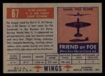 1952 Topps Wings #67   A-20 Havoc Back Thumbnail