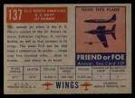 1952 Topps Wings #137   FJ2 North American Back Thumbnail