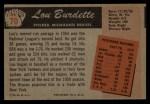 1955 Bowman #70  Lew Burdette  Back Thumbnail