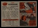 1957 Topps #117  Don Bingham  Back Thumbnail