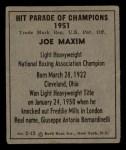 1951 Berk Ross #12 B  -  Joe Maxim Boxer Back Thumbnail