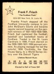 1961 Golden Press #19  Frankie Frisch   Back Thumbnail
