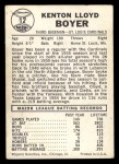 1960 Leaf #12 SML Ken Boyer  Back Thumbnail