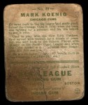1933 Goudey #39  Mark Koenig  Back Thumbnail