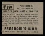 1950 Topps Freedoms War #199   General James H. Doolittle  Back Thumbnail