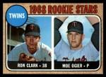 1968 Topps #589   -  Ron Clark / Moe Ogier Twins Rookies Front Thumbnail