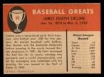 1961 Fleer #99  Jimmy Collins  Back Thumbnail