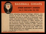 1961 Fleer #48  Ban Johnson  Back Thumbnail