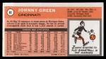 1970 Topps #81  Johnny Green   Back Thumbnail