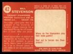 1958 Topps CFL #42  Bill Stevenson  Back Thumbnail