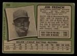 1971 Topps #399  Jim French  Back Thumbnail