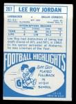 1968 Topps #207  Lee Roy Jordan  Back Thumbnail