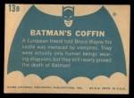 1966 Topps Batman Blue Bat Back #13   Batman's Coffin Back Thumbnail