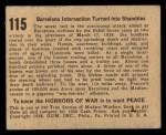 1938 Gum Inc. Horrors of War #115   Barcelona Intersection Turned into Shambles Back Thumbnail