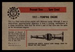 1953 Bowman Firefighters #24   1912 Pumping Engine Back Thumbnail