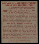 1953 Red Man #2 NL Bobby Adams  Back Thumbnail