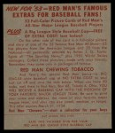 1953 Red Man #9 AL Dale Mitchell  Back Thumbnail