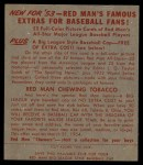 1953 Red Man #21 NL Hoyt Wilhelm  Back Thumbnail