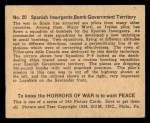 1938 Gum Inc. Horrors of War #20   Spanish Insurgents Bomb Government Territory Back Thumbnail