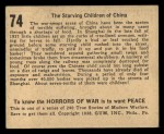 1938 Gum Inc. Horrors of War #74   The Starving Children of China Back Thumbnail