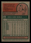 1975 Topps Mini #352  Darold Knowles  Back Thumbnail