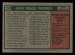 1975 Topps Mini #146   -  John McNamara Padres Team Checklist Back Thumbnail