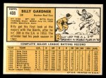 1963 Topps #408  Billy Gardner  Back Thumbnail
