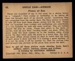1941 Gum Inc Uncle Sam #48   Planes At Sea Back Thumbnail