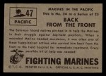 1953 Topps Fighting Marines #47   Back From The Front Back Thumbnail