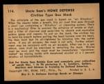 1941 Gum Inc Uncle Sam #114   Civilian Type Gas Mask Back Thumbnail