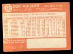 1964 Topps #542  Don Mincher  Back Thumbnail