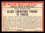1965 Philadelphia War Bulletin #50   Paris Freed Back Thumbnail
