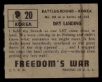 1950 Topps Freedoms War #20   Dry Landing   Back Thumbnail